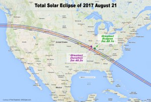 2017 Total Solar Eclipse Path over US
